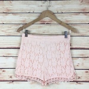 Urban Outfitters High Waisted Lace Shorts Pink 4